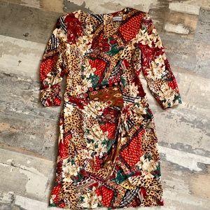 Vintage faux wrap animal print secretary dress
